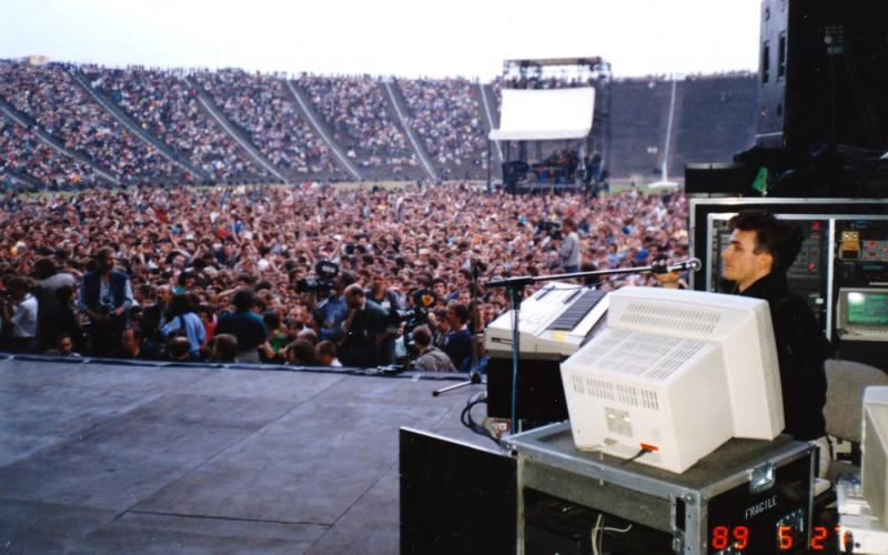 "My ""fifth Beatle"" perch in Warsaw with Stevie Wonder"
